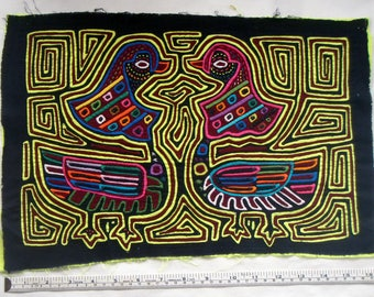 Vintage Kuna Mola - Birds in a Labyrinth
