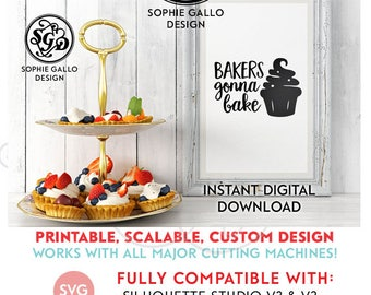 Bakers Gonna Bake Art SVG, DXF, PNG digital download files Silhouette Cricut vector clipart graphic Vinyl Cutting Machine ScreenPrinting