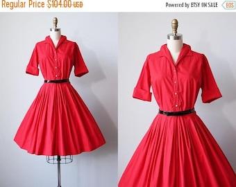 ON SALE 50s Dress - Vintage 1950s Dress - Red Cotton Full Skirt Shirtwaist S - Lucky Lass Dress