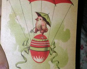 Vintage Easter Postcard- Parachuting Chick