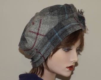 Ladies Grey Check Tweed Hat, Grey Tweed Tam, Cloche Beret