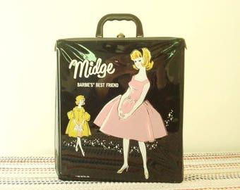 Midge doll trunk, Barbie's Best Friend, vintage 1963 black, pink, yellow vinyl, Mattel doll & wardrobe carrying case, fashion dolls, sixties