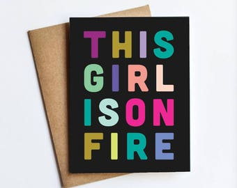 Girl On Fire - NOTECARD