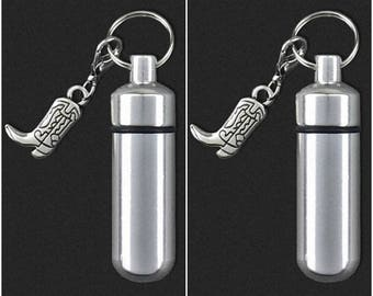 Two Pack Cowboy Boot - Ashes Urn - Cremation Necklace - Ashes Holder - Vial Key Chain - Western