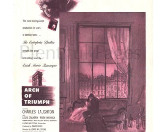 """1947 """"Arch of Triumph"""" Vintage Movie Ad, Ingrid Bergman, Advertising Art, Charles Boyer, 1940's Movie, Charles Laughton, Great for Framing."""