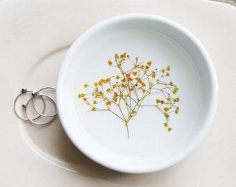 Baby's Breath Ring Dish, Small Wedding Dish, Ceramic Catchall, Small Trinket Tray, Jewelry Organizer, Desk Organizer