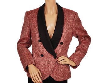 Vintage 1980s Red and Black Tweed Wool Jacket - Shawl Collar - Ladies - M