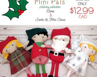 NEW Mini Pals Holiday collection BUNDLE rag doll sewing pattern toy elf elves santa mrs.claus kris kringle softie stuffed doll christmas