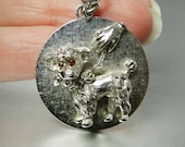 Vintage Monet Charm French Poodle Charm Easy To Clip On Large Silver Charms