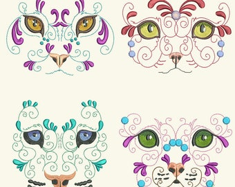 WILD CAT FANCY (6inch) - 10 Machine Embroidery Designs Instant Download 6x10 hoop (AzEB)