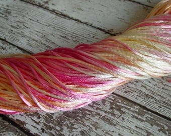 Pre-Cut Sale - Hand-dyed Silky Cord in SHERBET, 14 yards