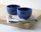 SECOND SALE - Set of two tripod serving bowls glazed in ocean blue