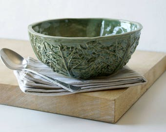 Handmade stoneware cabbage bowl - stoneware bowl in forest green
