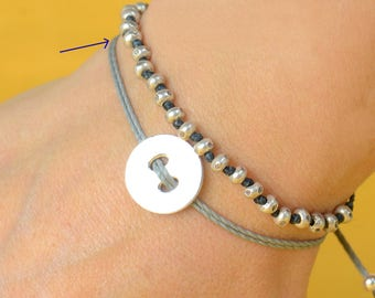 Sterling silver button  bracelet