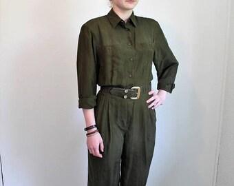 SPRING SALE 80s Jumpsuit, Khaki Pantsuit, Army Green, Silk Jumpsuit, Tapered Pants, Baggy Jumpsuit Long Sleeve ,Coveralls, Womens Jumpsuit M