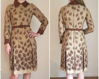 SUMMER SALE 60s Dress, Mid Century Modern, Mid Century Dress, Mod Era, 60s Midi Dress, Peter Pan Collar, Collared Dress, Neutral, Pleated Dr