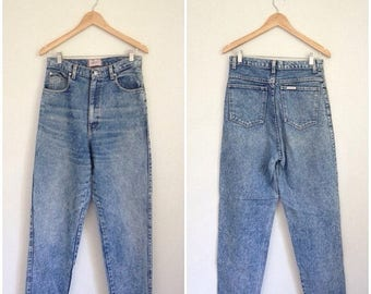 SUMMER SALE Acid Wash Jeans, 90s Jeans, SASSON, Womens Jeans Small, High Waisted Jeans, Acid Wash Denim Tapered Jeans Tight Jeans Waist 29 S