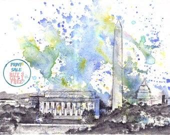 Washington DC Cityscape Skyline Landscape Art Print From Original Watercolor Painting 8 x 10 in Art Print