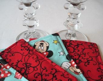 Minnie Mouse Coasters Reversible set 4 or 6 Disney Coasters Minnie Mouse Mug Rugs Disney table decor Disney gift