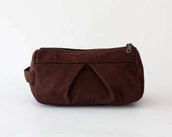 Makeup bag in brown canvas, toiletry case cosmetic storage case accessory bag in cotton canvas - Estia Bag