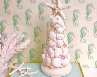 Seashell Christmas Tree - Tabletop Beach Decor