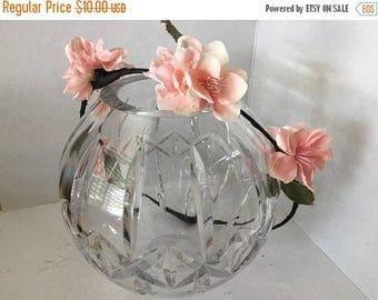 ON SALE Peach Blossom Flower Crown, Fabric Flower Wreath, Hair Accessory, Circlet, Wedding, Fairy Crown, Bridal Party, Fairy Costume, Hallow