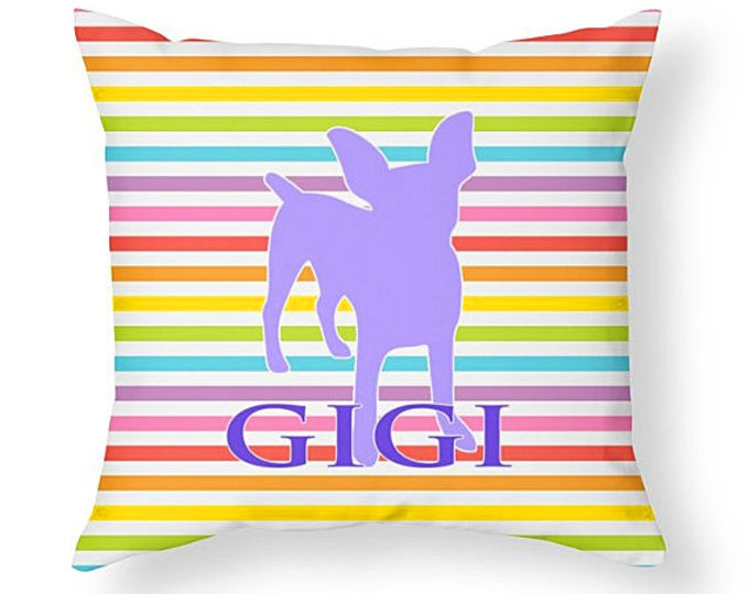 Throw Pillow, Personalized Throw pillow cover and insert, custom room decor, rainbow striped pillow, grad gift, dorm decor, girl room decor
