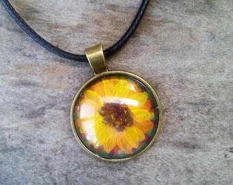 Hand Painted Yellow Sunflower Pendant