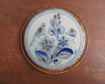 Vintage El Palomar Pottery, Round Trivet, Birds and Bugs, Blue and Brown, Made in Mexico
