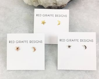Star and Moon Studs | Asymmetric Design | Sterling or Plated Sterling