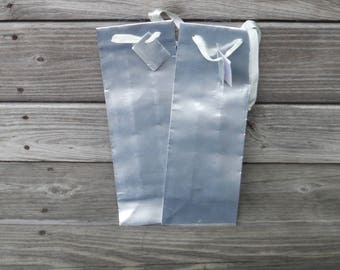 2 - SILVER Wine GIFT BAGS, Gift Wrap, Silver Anniversary. Anniversary, Gender Neutral, Father's Day, Great Guy, Paper Products, DiY