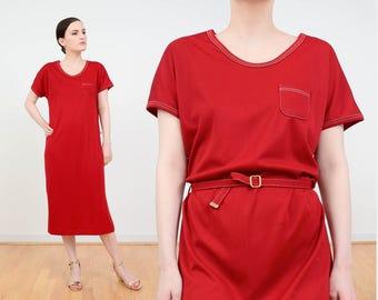 Burgundy Red Dress | 70s T-shirt Dress | Minimalist Dress | Belted Shift Dress | Pocket Tee Shirt Dress | 1970s Retro Midi Dress | Medium M