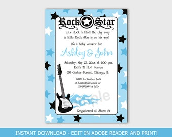 Blue Rock Star Guitar Music Rocker Boy Baby Shower Invitations Printable Digital EDITABLE TEXT Instant Download File bs-056