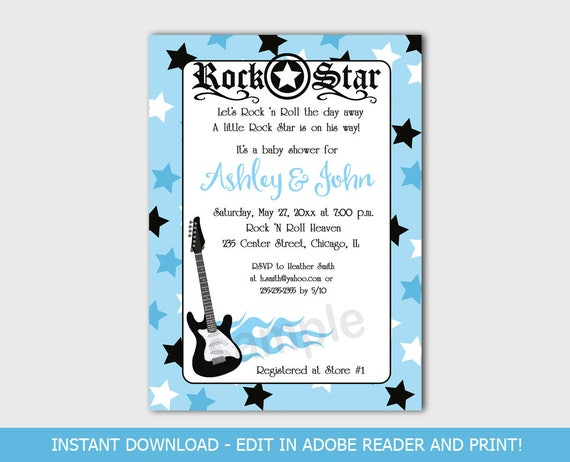 Blue rock star guitar music rocker boy baby shower invitations il570xn filmwisefo