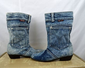Crazy 80s Acid Wash Denim Booties Womens Western Slouch Boots - By Temptations - Size 7 1/2