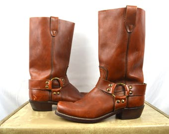 Vintage Brown Harness Leather Buckle Boots - Size 8 1/2 D