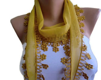 Mustard yellow cotton lace scarf-Mustard skinny scarf-Buy 3,get 1 free-Scarflette with lace trim-Skinny scarf headband-