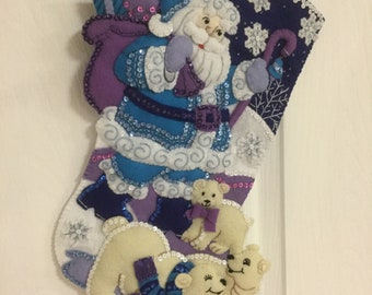 "Bucilla Completed Felt 18"" Arctic Santa  Christmas Stocking"