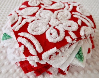 "Vintage Chenille Fabric Quilt Squares - 26- EIGHT "" rare REDS, pairs - 500-310"