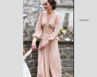 kate middleton pink pleated dress, celeb inspired dress custom made