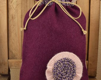 Cashmere hot water bottle cover in magenta with flower