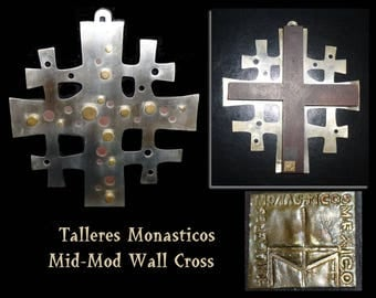 "1960s Talleres Monasticos Wall Cross. Mid Century Modernist Steel, Copper & Rosewood. 9"" tall. Benedictine Monks of Cuernavaca, Mexico"