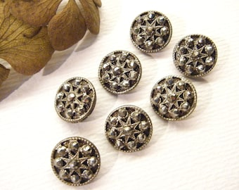 "Set of 8 Antique Buttons, STARS, Cut Steels, Metal,  9/16"", ANIMAL CHARITY Donation"