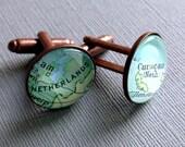 Custom Cuff Links, Bronze Gift for Men, Anniversary Gift, Map Cufflinks