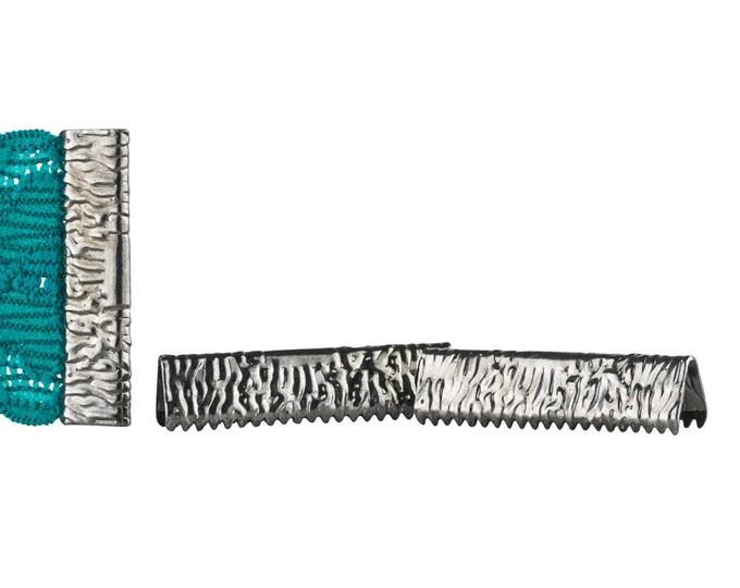 50pcs.  25mm or 1 inch - Gunmetal No Loop Ribbon Clamp End Crimps - Artisan Series