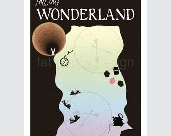 Down the Rabbit Hole from Alice in Wonderland Retro Travel Poster print 9x12, 12x18 vintage style