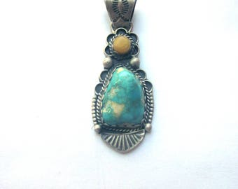 Sterling Silver Turquoise Navajo Vintage Pendant Native American Jewelry Richard Jim