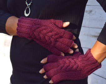 Wool fingerless gloves plum cable knit gloves gift for her Fall Thanksgiving Christmas womens gift under 40 fashion accessories cozy knits