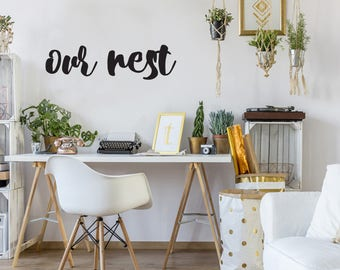 Our Nest Farmhouse Style Decal 9x34 saying Chunky Script Decor Vinyl Wall Decal Graphic