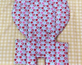 Evenflo replacement cotton high chair pad baby accessory, baby and child kids chair pad, seat protector toddler feeding chair, cherry hearts